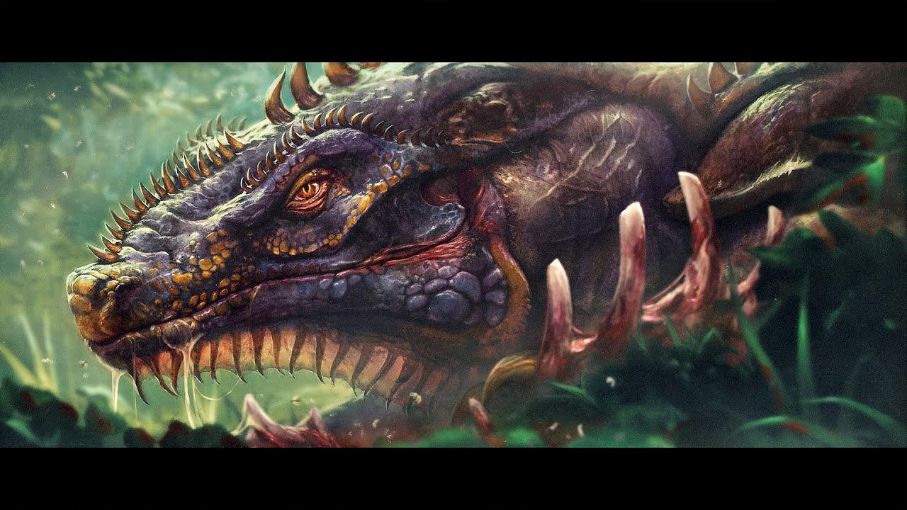 Digital painting process Photoshop speedpaint dragon reptile