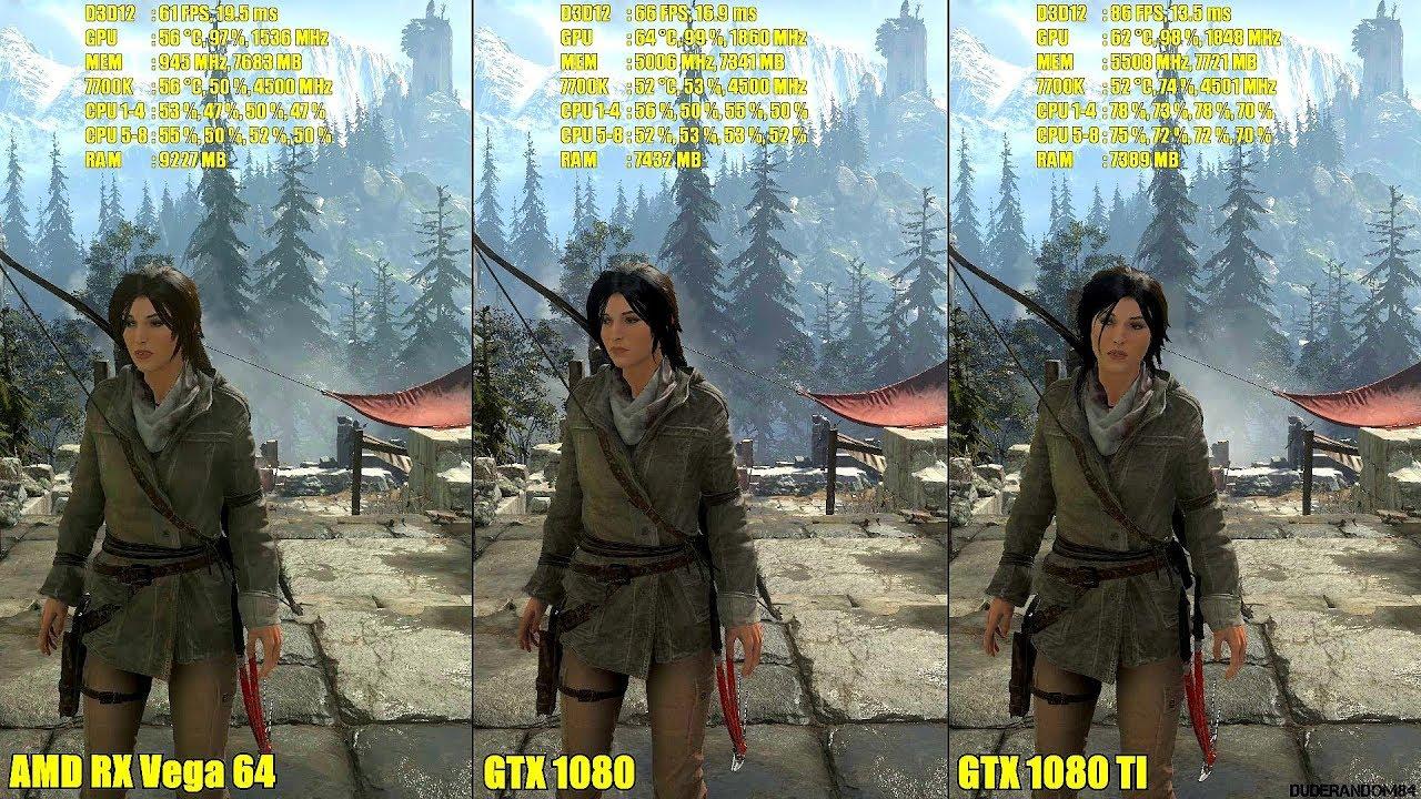 Rise Of The Tomb Raider DX12 AMD RX Vega 64 Vs GTX 1080 Vs GTX 1080 TI  Frame Rate Comparison