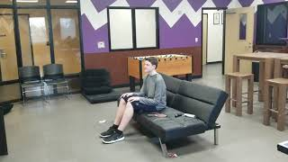 Kid sits down. (Tries to play mario with a ping pong paddle)
