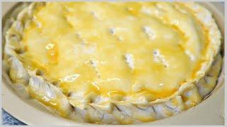 БЫСТРЫЙ ПИРОГ с луком и плавленным сыром из слоеного бездрожжевого теста