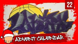 Graffiti Tutorial for beginners - How to draw a Los Angeles Lakers graffiti (22th Door)