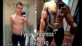 💪💪💪1 Year Body Transformation|Skinny to Muscle|Before After|Motivation|From 72kg-92kg|Natural