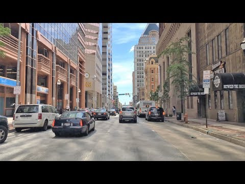 Driving Downtown - Baltimore Street - Baltimore Maryland USA