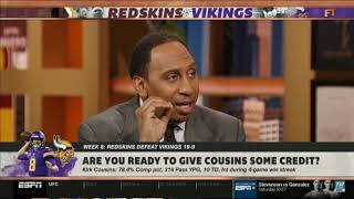 "ESPN FIRST TAKE | Stephen A. ""heated"" Vikings def. Redskins 19-9; Kirk Cousins: 23-26, 285 Yds"