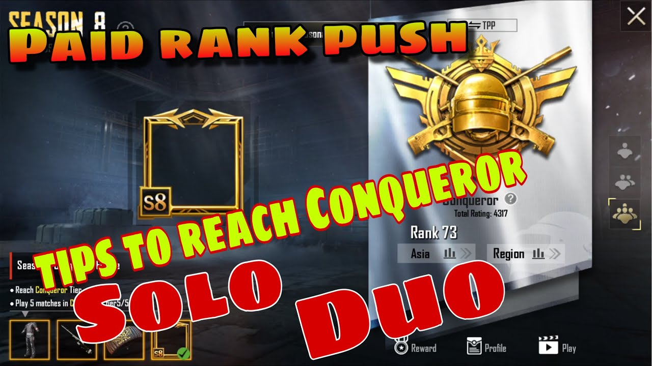 Buy RANK push to Conqueror Ace And Tips to reach Conqueror in solo duo ( PURCHASE CONQUEROR FRAME )
