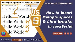 JavaScript tutorial 19 - white space and line break in javascript