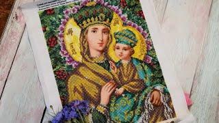 Богородица с младенцем. Икона по картине А. Охапкина. Вышивка бисером.