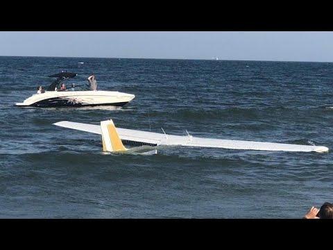 شاهد: هبوط إضطراي لطائرة صغيرة على شاطئ في ماريلاند