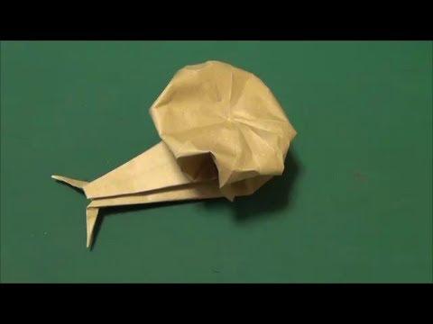 """梅雨「カタツムリ」折り紙""""Land snail""""origami"""