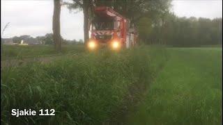 Prio 2 brandweer Oldenzaal komt ter plaatse bij stormschade in Tilligte