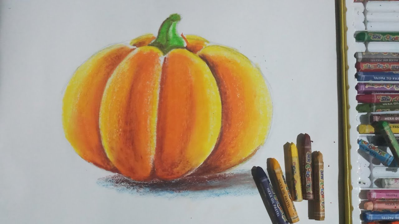 How To Draw A Pumpkin With Oil Pastel Youtube