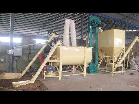 Animal feed  processing line, include conveying, crushing, mixing, filling