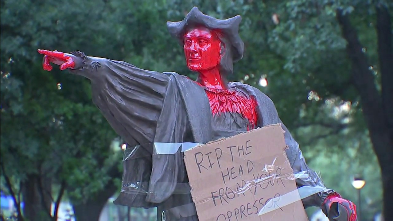 Statue of Christopher Columbus vandalized in Houston