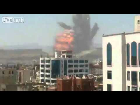 Four angles of the large explosion in Sanaa, Yemen earlier today