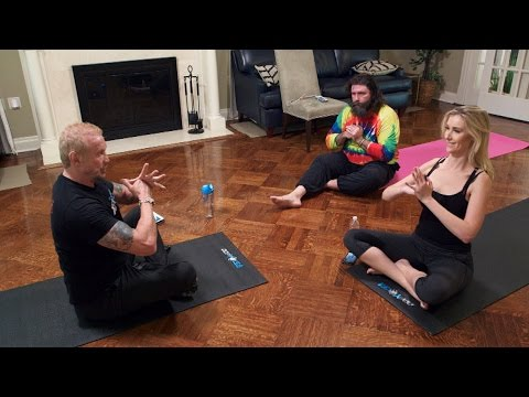 Mick and Noelle Foley 'feel the bang' during DDP Yoga, on WWE Network