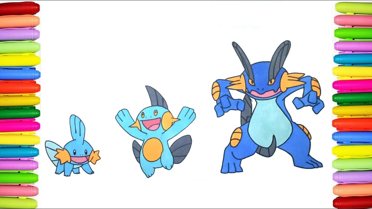 Pokemon Coloring Pages Mudkip Marshtomp And Swampert Youtube