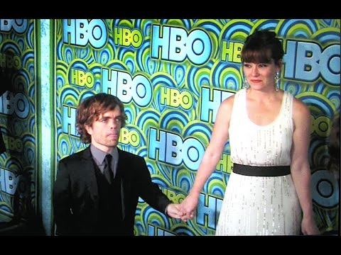 PETER DINKLAGE and wife ERICA arrive at HBO Emmy party