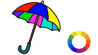 How to Draw Umbrella Step by Step Coloring Easily for Kids    Little Channel    Rain Umbrella art
