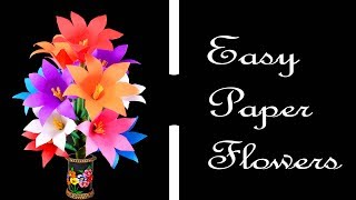 How to Make Easy and Simple Paper Flowers Craft for Vase | Very Easy Flower Creations