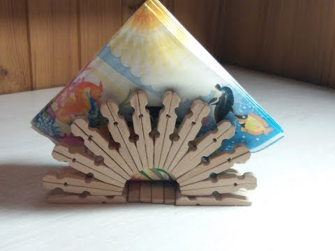 ★Handmade from clothespins. How to make a beautiful napkin holder for the kitchen.