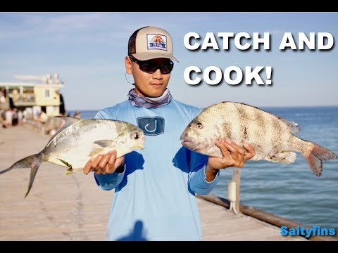 Fishing Anna Maria Island Rod And Reel Pier (Pompano And Sheepshead CATCH AND COOK!)