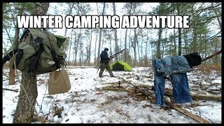 WINTER CAMPING EXPEDITION - EXPLORING LAND - OUTDOOR COOKING - POTENTIAL SHELTERS