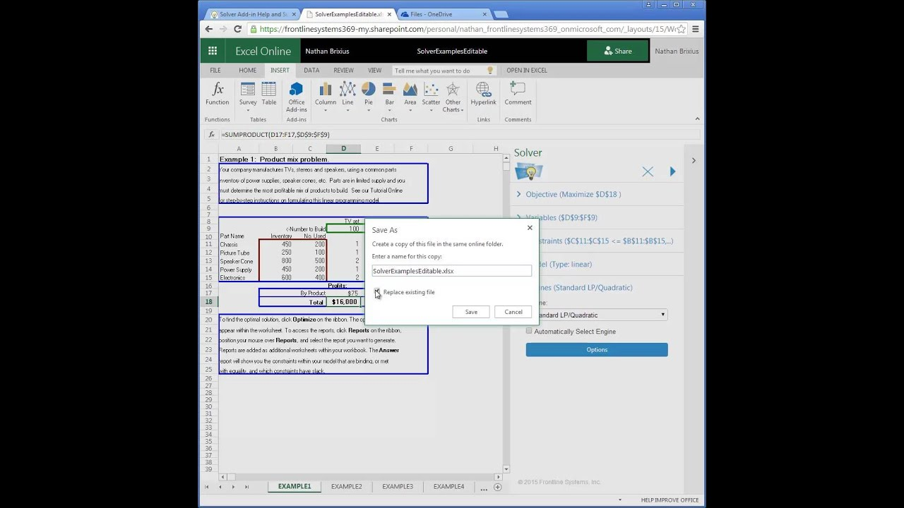 new solver add-in for excel online  excel on ipad