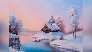Зимний пейзаж поэтапно. Мастер-класс по живописи маслом для начинающих художников.