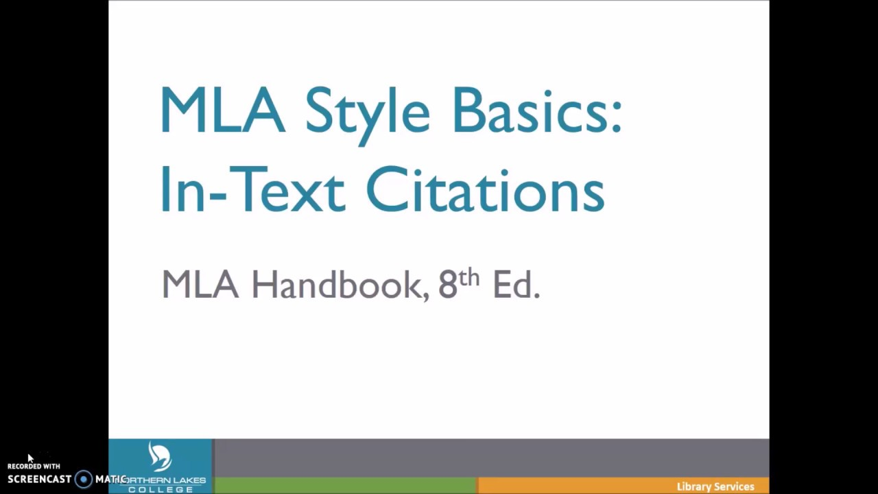 In Text Citations In Mla8 Youtube