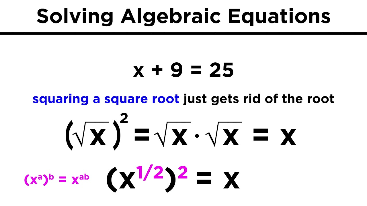 Solving Algebraic Equations With Roots And Exponents Youtube