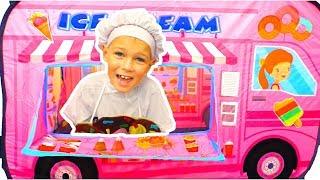 Vania & Mania Pretend Play Selling SAND Ice Cream Toy Shop