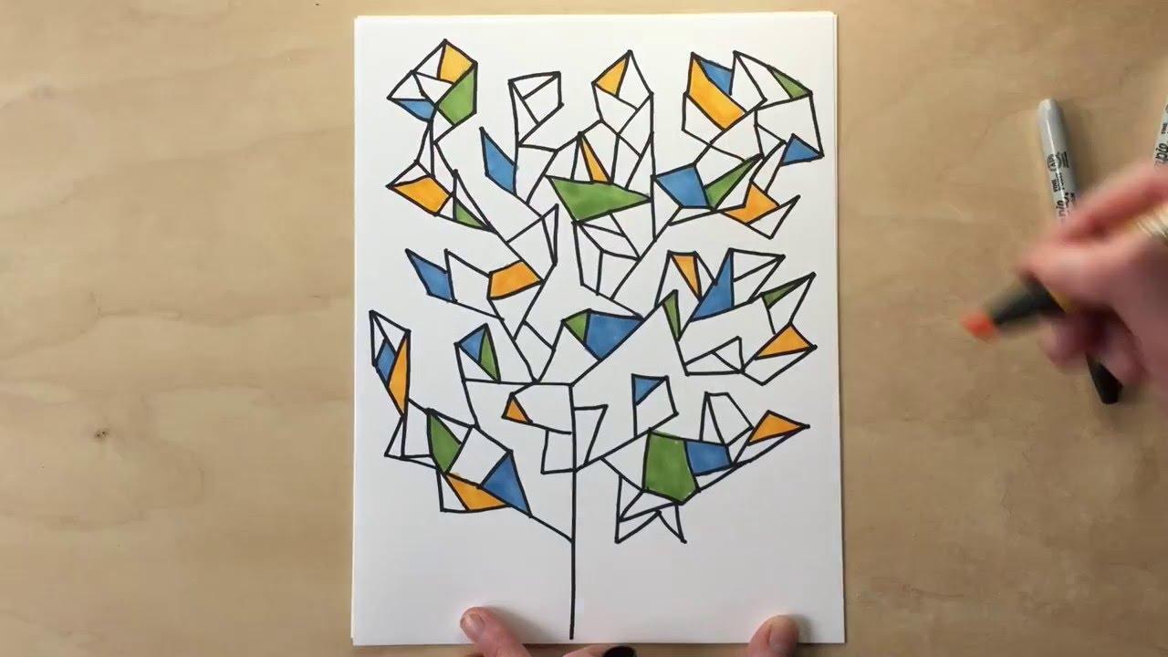 drawing game art Geometry Trees Drawing Game