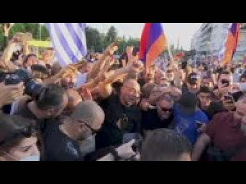 Azeri Flags Burned At Pro-Armenia Rally In Athens