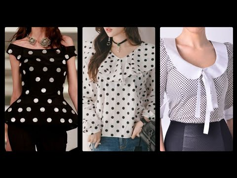 Most Trending And Gorgeous Daily Work Wear Polka Dot Blouses Design In Black And White For Women