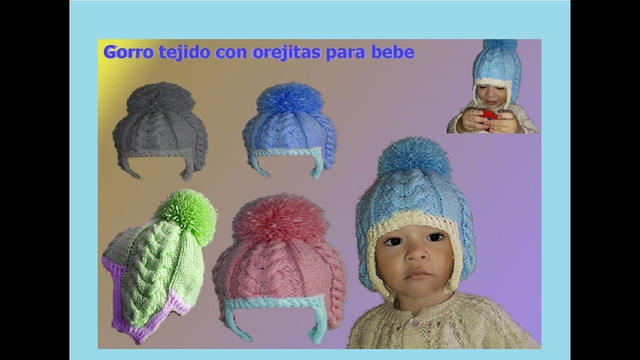 Gorro para bebé - con trenzas tejidas en dos agujas   gorro con ... 63507df7f07