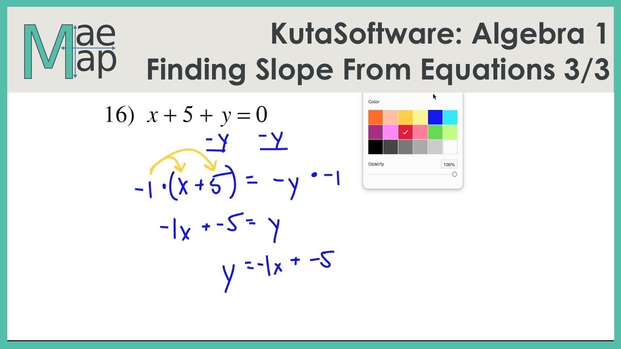 KutaSoftware: Algebra 1- Finding Slope From An Equation Part 3 - YouTube