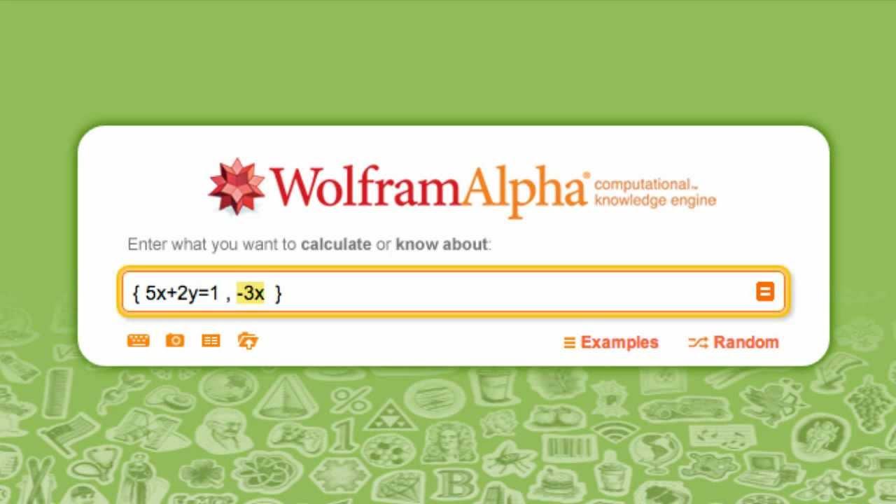 Como resolver sistemas de ecuaciones en Wolfram Alpha - YouTube