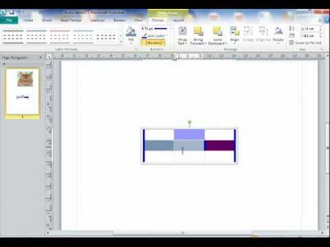 Tutorial on inserting tables for Publisher 2010