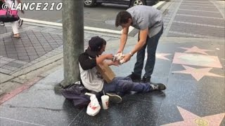 Watch The Heartwarming Reactions As Teen Gives 100 Hamburgers to Homeless