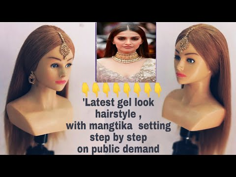 Celebrity flat gel look hairstyle with mangtika setting/ celeb flat gel look hairstyle/gel look hair
