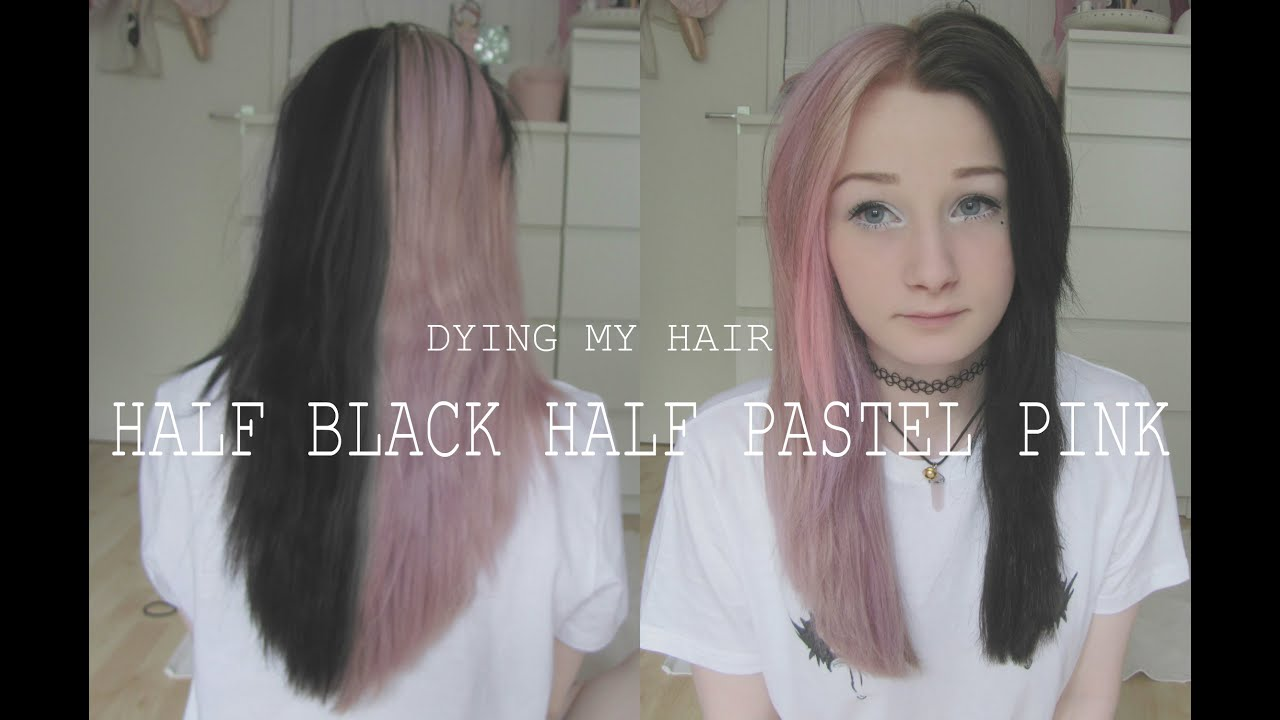 dying my hair half black half pastel pink german youtube