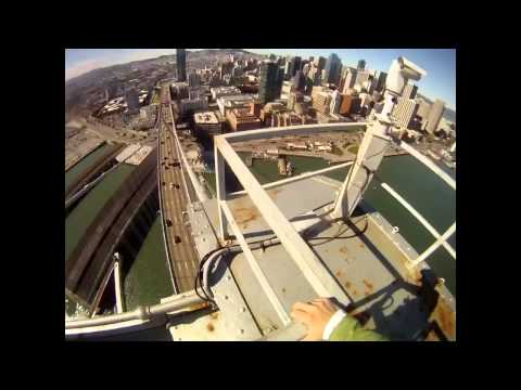 Walking on the cable to top of Bay Bridge FULL HD version