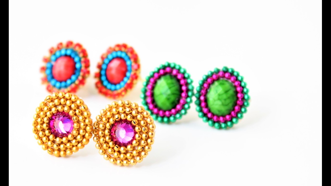 Earring Studs Making Patches For Silk Thread Earrings Easy Tutorial You