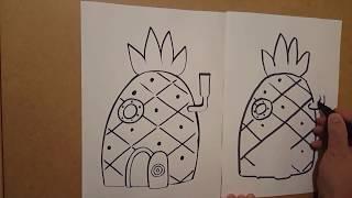 Как да нарисувам къщата на спонджбоб - рисувам ананас,  картинка за оцветяване,  видео за деца