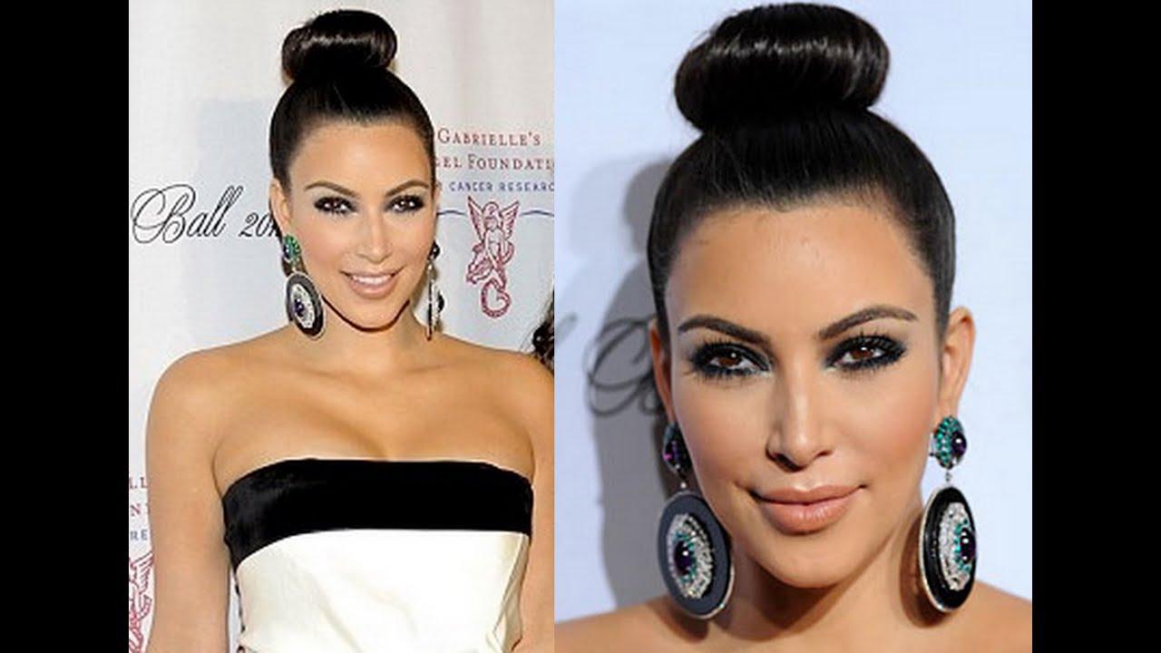 hairstyle kim kardashian high bun top knot hairstyle inspired hairstyle updo hair bun how to