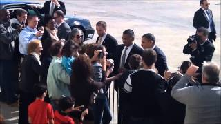 President Obama In NYC For fundraiser Greets Guests At JFK Airport