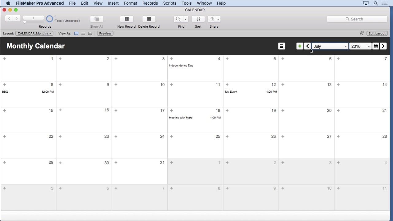 FileMaker Calendar Tutorial - The Completed Calendar Solution