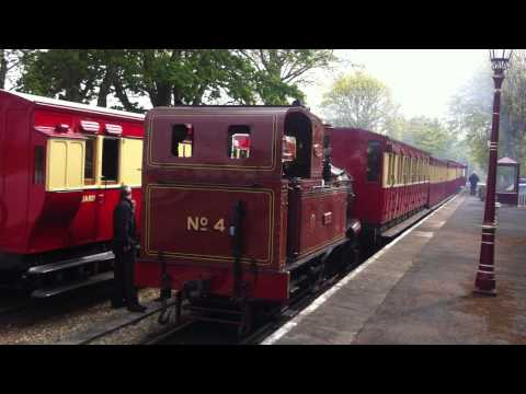 Isle of Man Steam Railway, Ballasalla Station: drivers handing over Tokens for single track sections