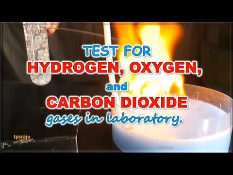 Test for oxygen, hydrogen and carbon dioxide gases in laboratory